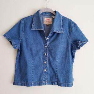 Vintage Levi's fitted short-sleeved denim shirt M